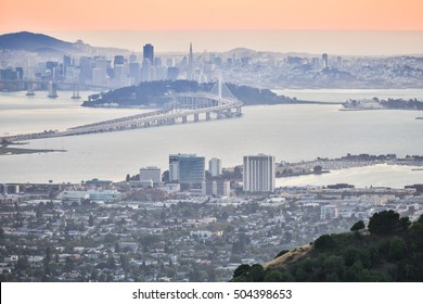 Hazy Summer Sunset over San Francisco, as seen from Berkeley Hills