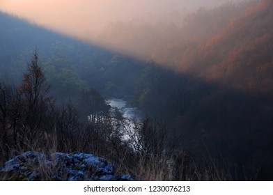 Hazy view of the Yantra river and the mountains in Bulgaria