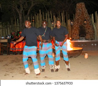 HAZYVIEW, SOUTH AFRICA - OCTOBER 1, 2018: Local dancers perform for tourists in Singita lodge located in Sabi Sands Game Reserve, South Africa
