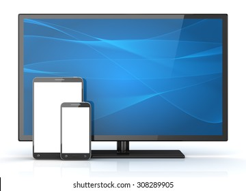 HD television and phone. 3d render and computer generated image.