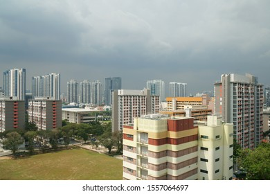 HDB apartments cityscape in the cloudy afternoon, Singapore, 2019 Oct 10