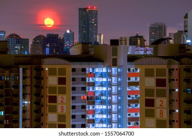 HDB apartments cityscape in moon light, Singapore, 2019 Oct 12