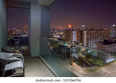 HDB apartments cityscape in moon light, viewed from terrace, Singapore, 2019 Oct 12