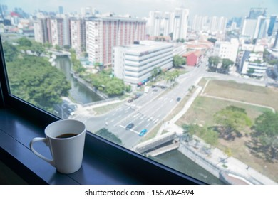 HDB apartments cityscape in the morning with coffee on the window ledge, Singapore, 2019 Oct 11