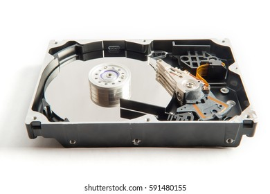 Hdd disk inside isolated on the white background.