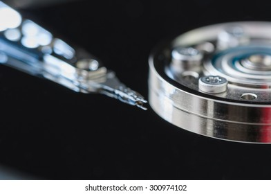 HDD Harddisk internals closeup datadisk reader surface