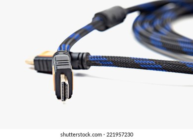 HDMI cable close up isolated on a white background