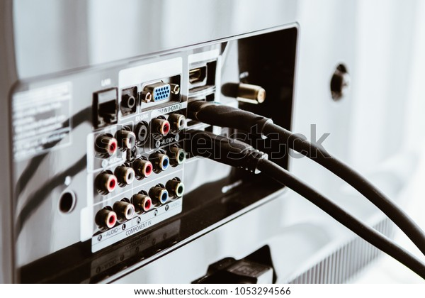 hdmi Cable connected to back of television tv set