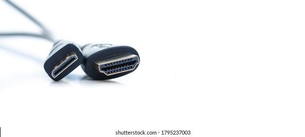 HDMI mini HDMI adapter on white background isolation