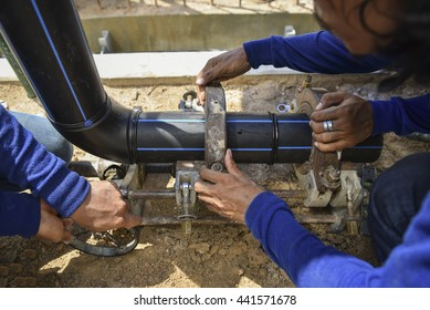 HDPE pipe welding for connection water supply at construction site & Hdpe Pipe Images Stock Photos u0026 Vectors | Shutterstock