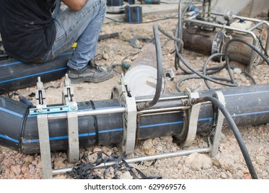 HDPE pipe welding for connection water supply at construction site