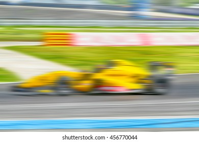 HDR car racing on the road and track with motion blur and Radial blur