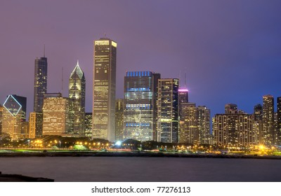 HDR of Chicago Skyline at Night