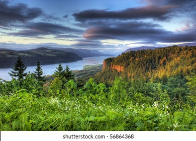 HDR of the Columbia River Gorge and Vista House and Beacon Rock beyond that.