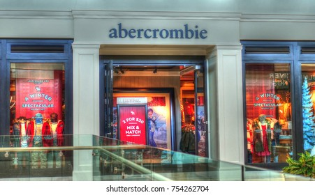 HDR image, Abercrombie retailer storefront, shopping mall entrance - Peabody, Massachusetts USA - October 18, 2017