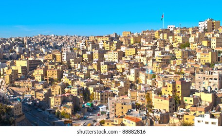 H.D.R image of Amman,Jordan with a flag ahead
