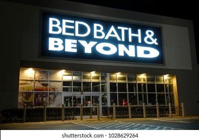 HDR image, Bed Bath & Beyond retailer storefront entrance - Danvers, Massachusetts USA - December 24, 2017
