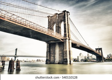HDR image of Brooklyn Bridge - view from Manhattan.