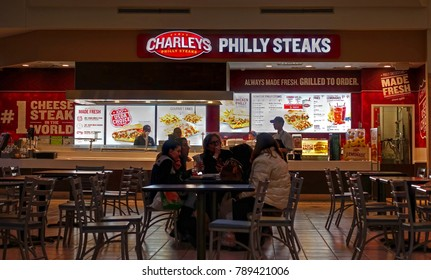 HDR image, Charley's Philly Cheesesteak restaurant menu ordering counter, food court shopping mall - Saugus, Massachusetts USA - January 5, 2018