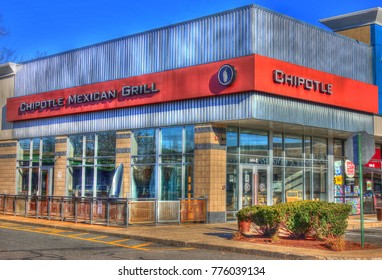 HDR image, Chipotle Mexican restaurant casual dining entrance - Saugus, Massachusetts USA - November 23, 2017