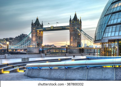 HDR image of City hall and Tower Bridge
