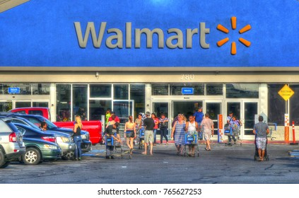 HDR image, customers shop at Walmart store - Lynn, Massachusetts USA - August 20, 2017