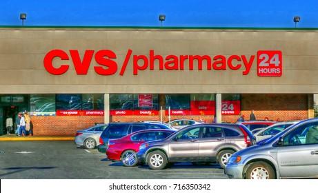 HDR image, CVS drug store/pharmacy, shopping center - Revere, Massachusetts USA - August 16, 2017