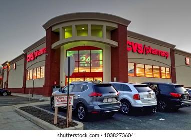 HDR image, CVS Pharmacy drug store prescriptions, front entrance - Saugus, Massachusetts USA - February 20, 2018