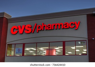HDR image, CVS pharmacy drugstore signage - Saugus, Massachusetts USA - October 12, 2017