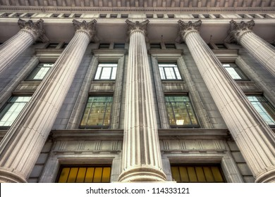 HDR image of a Facade with Columns Antique of an Old Building of Montreal.