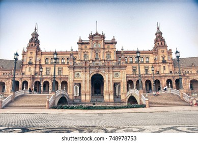 HDR image of the famous Spanish Square (Plaza de España) in Seville (Sevilla) Spain