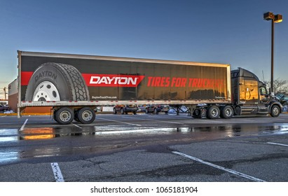HDR image, Firestone company subsidiary, Dayton heavy duty truck tires delivery tractor trailer - Revere, Massachusetts USA - March 26, 2018