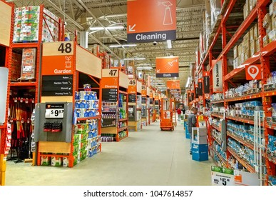 HDR image, Home Depot store department section aisles - Saugus, Massachusetts USA - February 20, 2018