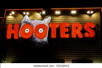 HDR image, Hooters casual dining restaurant signage - Saugus, Massachusetts USA - September 18, 2017