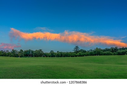 HDR image of illuminated cloud at sundown, Kanazawa, Ishikawa Prefecture, Japan.