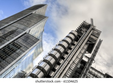 HDR image of the Lloyd's Building (also known as The Inside-Out Building)and The Willis Building.