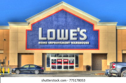 HDR image, Lowe's home improvement retailer, storefront entrance - Peabody, Massachusetts USA - August 27, 2017
