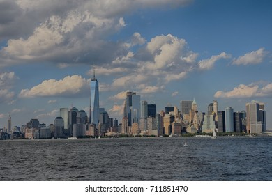HDR Image of Manhattan downtown skyline with over Hudson river, New York City