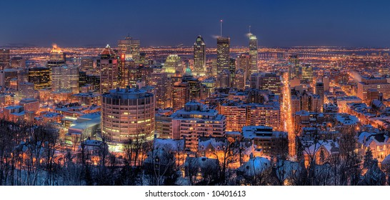 HDR Image of the Montreal Downtown Core and McGill University at Night