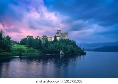 HDR image of Niedzica Castle at sunset in Niedzica, Lesser Poland