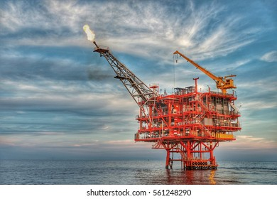 HDR image of Offshore construction platform for production oil and gas, Oil and gas industry, Production platform and operation process by manual and auto function, oil and rig industry and operation.