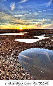 hdr image of oyster beds at sunset in south carolina
