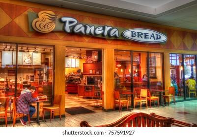 HDR image, Panera Bread restaurant storefront, shopping mall - Danvers, Massachusetts USA - September 4, 2017