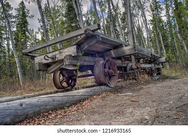 HDR Image of the remains of an old wooden tramway in former Canyon City located about 7 km from downtown Whitehorse, Yukon at the upstream end of Miles Canyon on the Yukon River