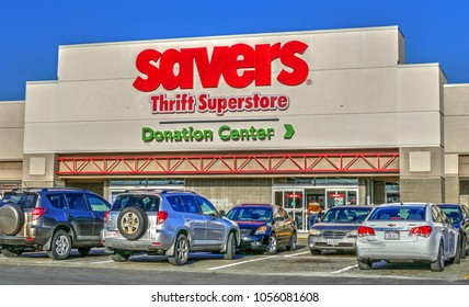 HDR image, Savers donations discount thrift superstore - Saugus, Massachusetts USA - March 26, 2018