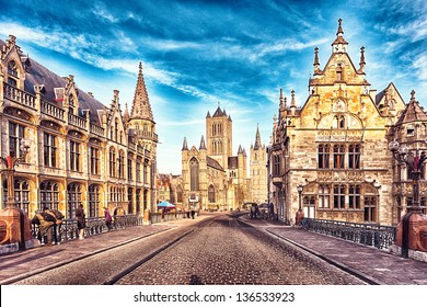 HDR image of the street in Gent, Belgium