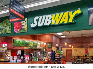 HDR image, Subway sandwich restaurant shop located inside Walmart retail store - Peabody, Massachusetts USA - February 12, 2018