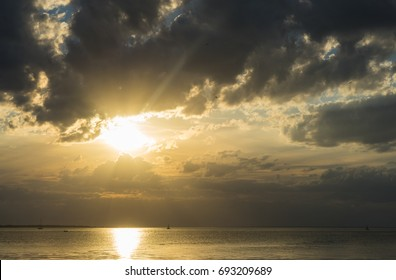 HDR image of Sunset over the Baltic Sea with big clouds