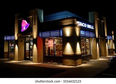 HDR image, Taco Bell fast food restaurant, open late night - Revere, Massachusetts USA - November 3, 2017