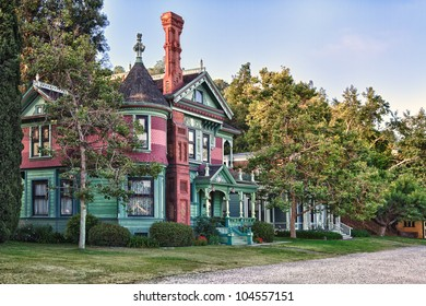 HDR image of Victorian style architecture Restoration of houses in Los Angeles Neighborhood